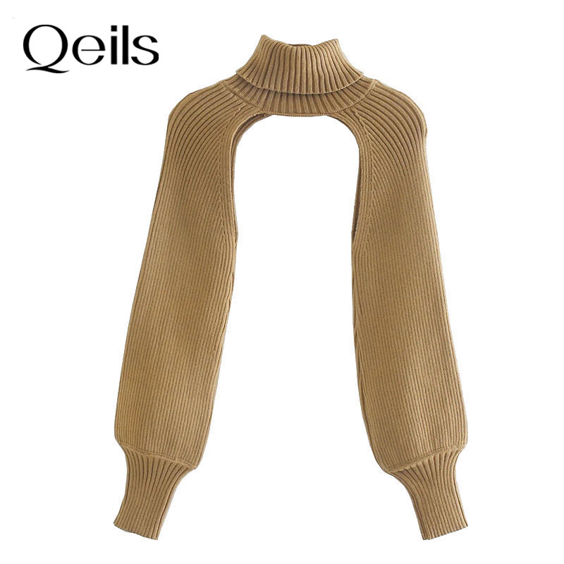 Qeils Women 2021 Fashion Arm Warmers Knitted sweater Vintage Turtleneck Long Sleeve Female Pullovers