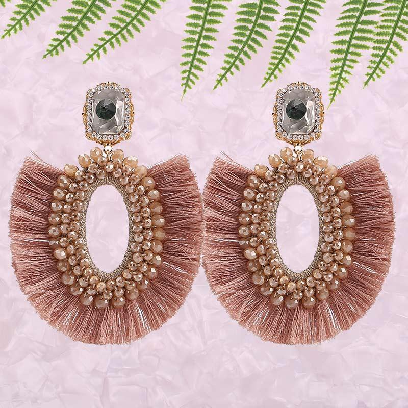 Pendientes colgantes de cuentas de cristal hechos a mano de estilo bohemio Vintage para mujer, regalos de fiesta, pendientes minimalistas con borlas, accesorios