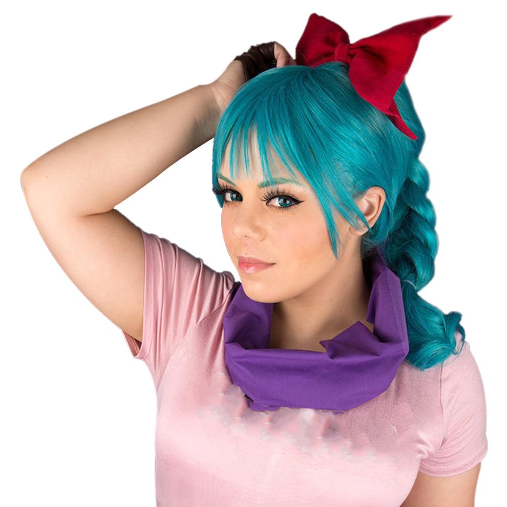 الحرة الجمال الأزرق أنيمي شعر مستعار تأثيري مع ضفائر-الفتيات النساء الاصطناعية الكرتون خارقة خصلات الشعر المستعار للحزب زي هالوين