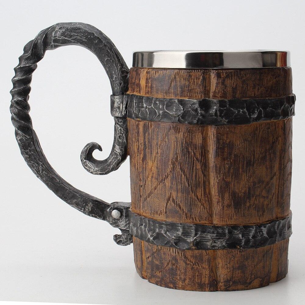 برميل خشبي الفولاذ المقاوم للصدأ الراتنج ثلاثية الأبعاد كوب للبيرة الكأس لعبة Tankard فنجان القهوة أكواب كأس للنبيذ 650 مللي أفضل حصلت هدية