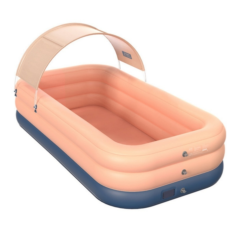 حمام سباحة قابل للنفخ بولي كلوريد الفينيل ظلة اللاسلكية التلقائي المنزلية للأطفال حمام سباحة كبير في الهواء الطلق بركة بلاستيكية مع سقيفة