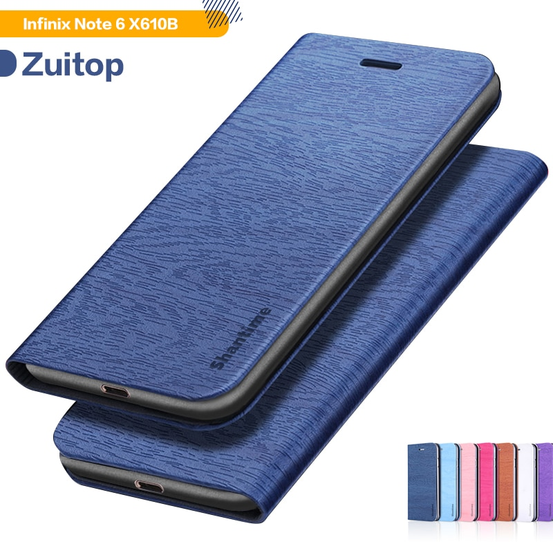 Funda de teléfono de cuero de grano de madera para Infinix Note 6 X610B funda abatible para Infinix Note 6 X610B funda de negocios suave cubierta trasera de silicona
