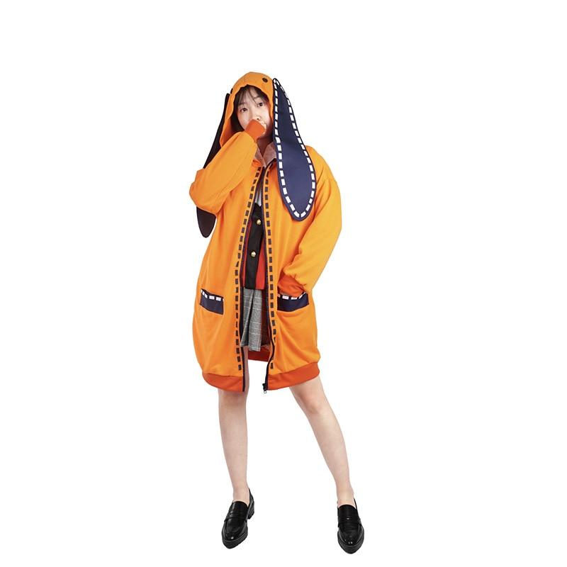 Anime kakegurui, jugador compulsivo, Runa yomo, disfraz de cosplay, Runa yomo, chaqueta bonita con capucha, chaqueta, peluca, trajes de mujer adulta