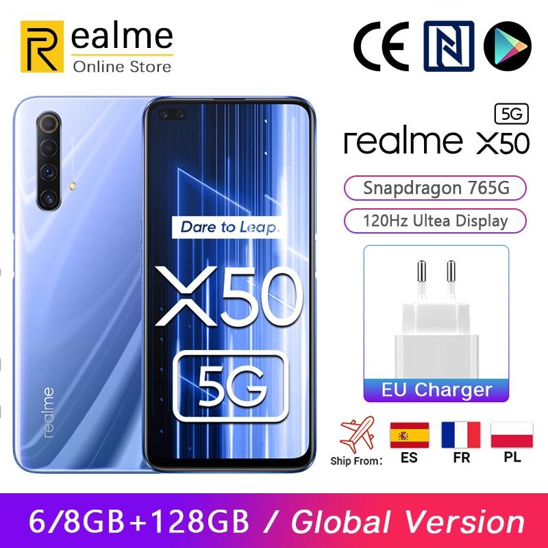 الإصدار العالمي من هاتف Realme X50 X 50 5G الذكي بذاكرة وصول عشوائي 8 جيجا بايت 128 جيجا بايت سنابدراجون 765 جيجا بايت 6.57 بوصة شاشة فائقة 120 هرتز كاميرا خ...