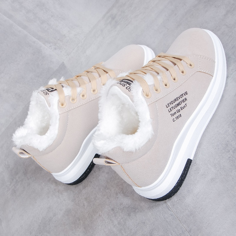 Sapatos de algodão feminino novas botas de inverno mais veludo sapatos de algodão grosso soled quente neve botas femininas de algodão