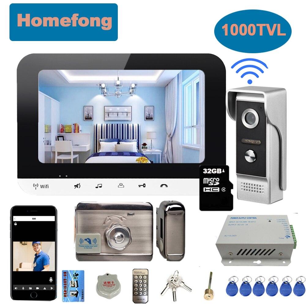 Homefong 7 بوصة كاميرا جرس الباب Wifi اللاسلكية فيديو إنترفون اللاسلكية هاتف منزلي نظام قفل إلكتروني عن فتح نقاش IR