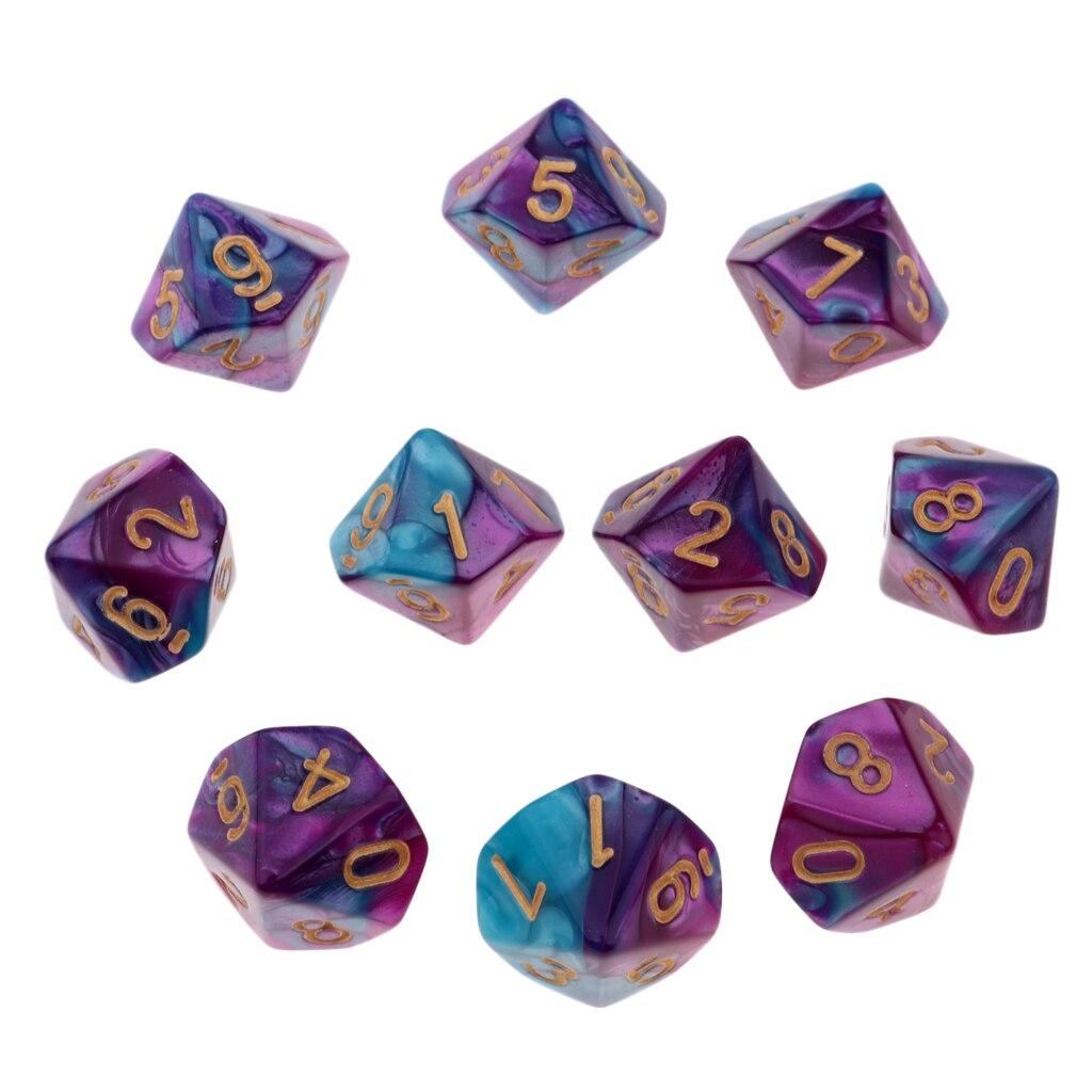 10 шт. старинные 10-сторонние игральные кубики D10 16 мм кубики для подземей D & D ролевая игра настольные игры и математические принадлежности