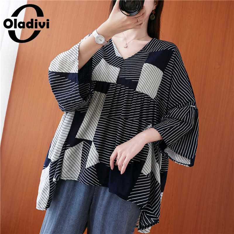 Blusa holgada Oladivi de talla grande a la moda de chifón a rayas para mujer, Blusa informal de verano para mujer, capa grande suelta, camisa túnica, Blusa 8XL