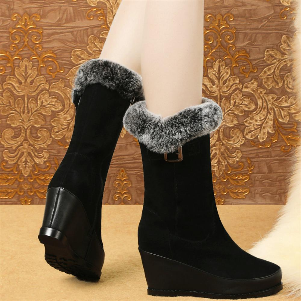 2020 Winter Fashion Sneakers Women Genuine Leather Wedges High Heel Motorcycle Boots Female Warm Rabbit Fur Platform Pumps Shoes  - buy with discount