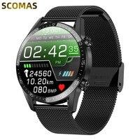 Смарт-часы Для мужчин вызовов через Bluetooth IP68 Водонепроницаемый Smartwatch Температура монитор ЭКГ БП сердечного ритма спортивный смарт-браслет