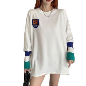 2021 new spring women's bottoming shirt cotton white long-sleeved T-shirt Korean loose top oversized t shirt white t shirt women