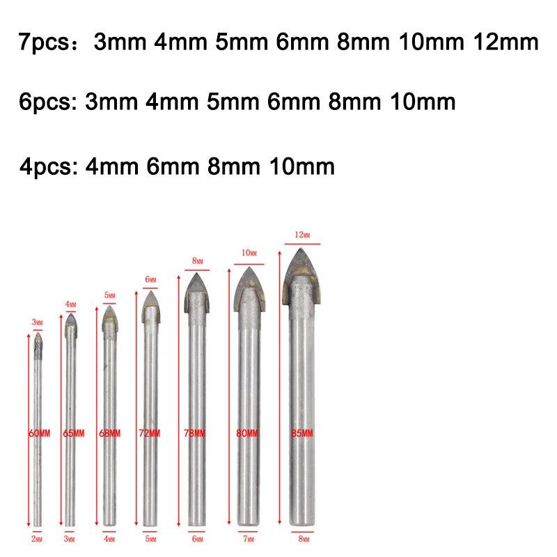 3-12mm verre foret ensemble carbure de tungstène à pointe de céramique coupe-carreaux avec tige hexagonale Triangle trou foret pour outils électriques