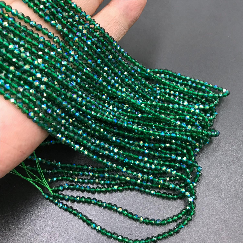 Micro Faceted Bead Natürliche Stein Perlen Facted Grün Emeralded 2 3 mm Spacer Lose Perlen für Schmuck Machen Halskette DIY armband