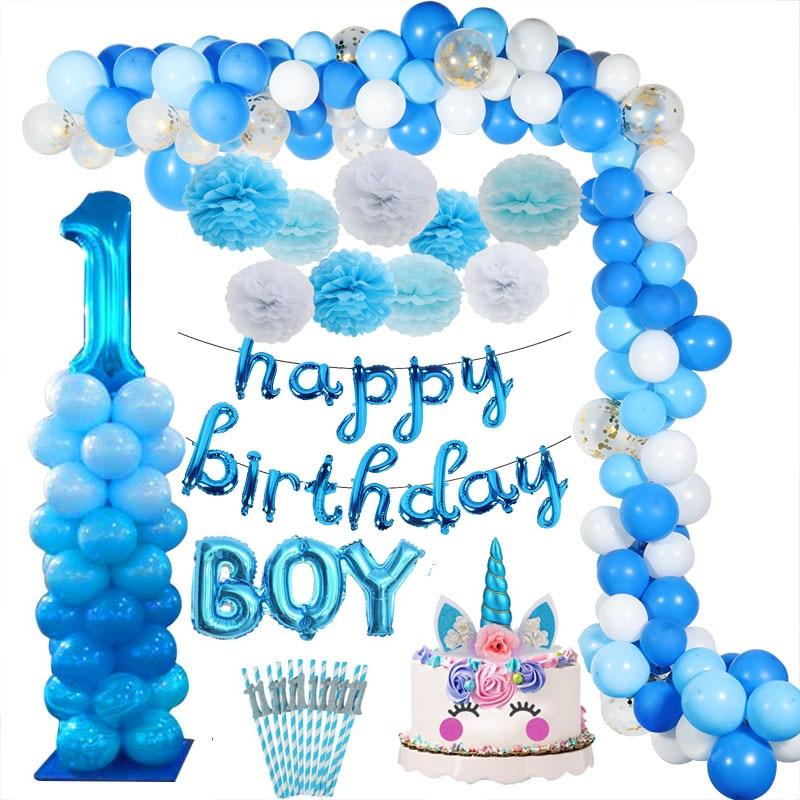 Синие латексные воздушные шары на первый день рождения мальчика-1
