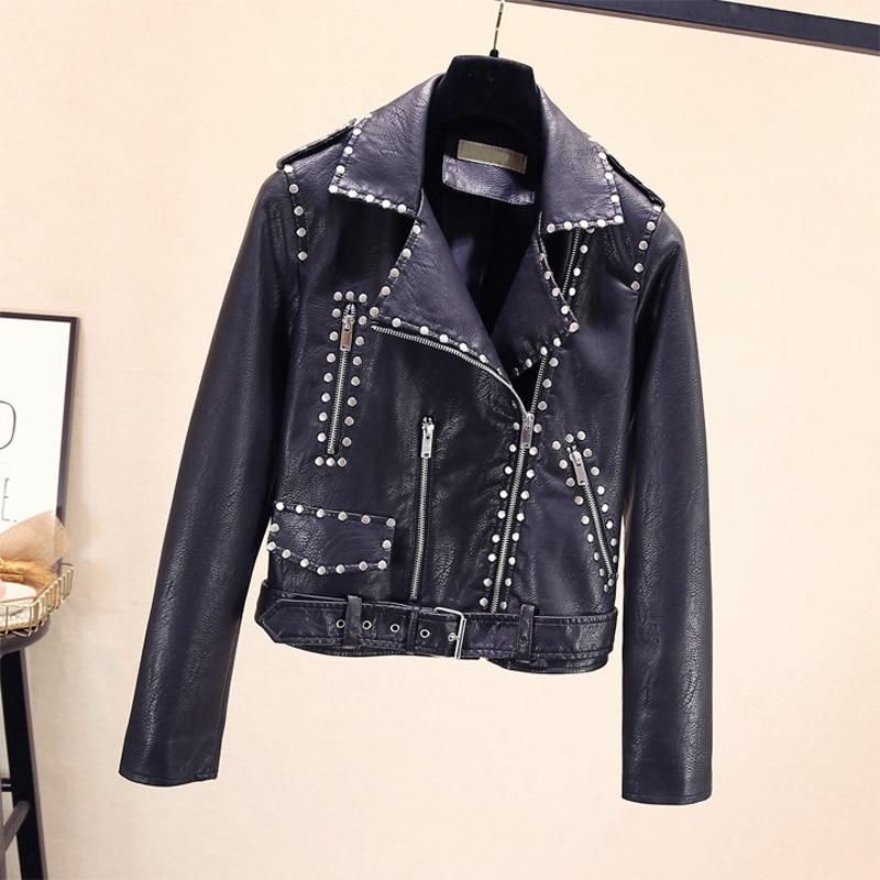 куртка утепленная jackets industry jackets industry ja036emhcit6 2020 heavy industry rivet splicing belt PU leather coat women's motorcycle jackets denim jacket women PU jacket biker jacket