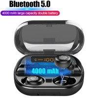Wireless Bluetooth 5.0 Earphones IPX7 Waterproof 9D Stereo Sport Headset with 4000mAh Power Bank TWS Earbuds with Mic Earpiece