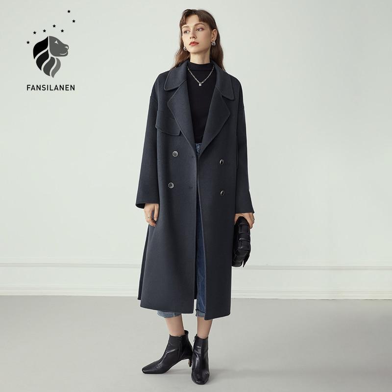 FANSILANEN Double Breasted 100% Wool Coat Women Elegant Cashmere Long Winter Coat Female Oversized Vitnage Blend Jacket Overcoat