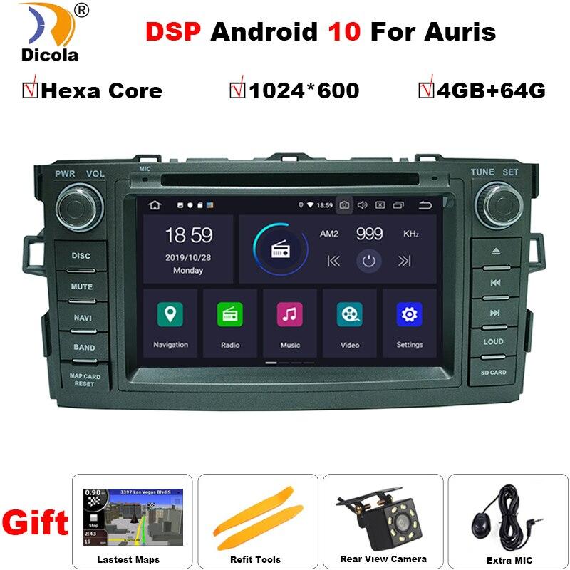 PX6 IPS DSP Android 10 4G + 64G Radio GPS 2 DIN para coche para TOYOTA AURIS COROLLA Altis 2008-2012 navegador estéreo pantalla reproductor de DVD