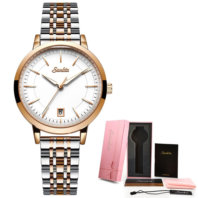 SUNKTA New Rose Gold Women Watch Business Quartz Watch Ladies Top Brand Luxury Female Wrist Watch Girl Clock Relogio Feminin+Box enlarge