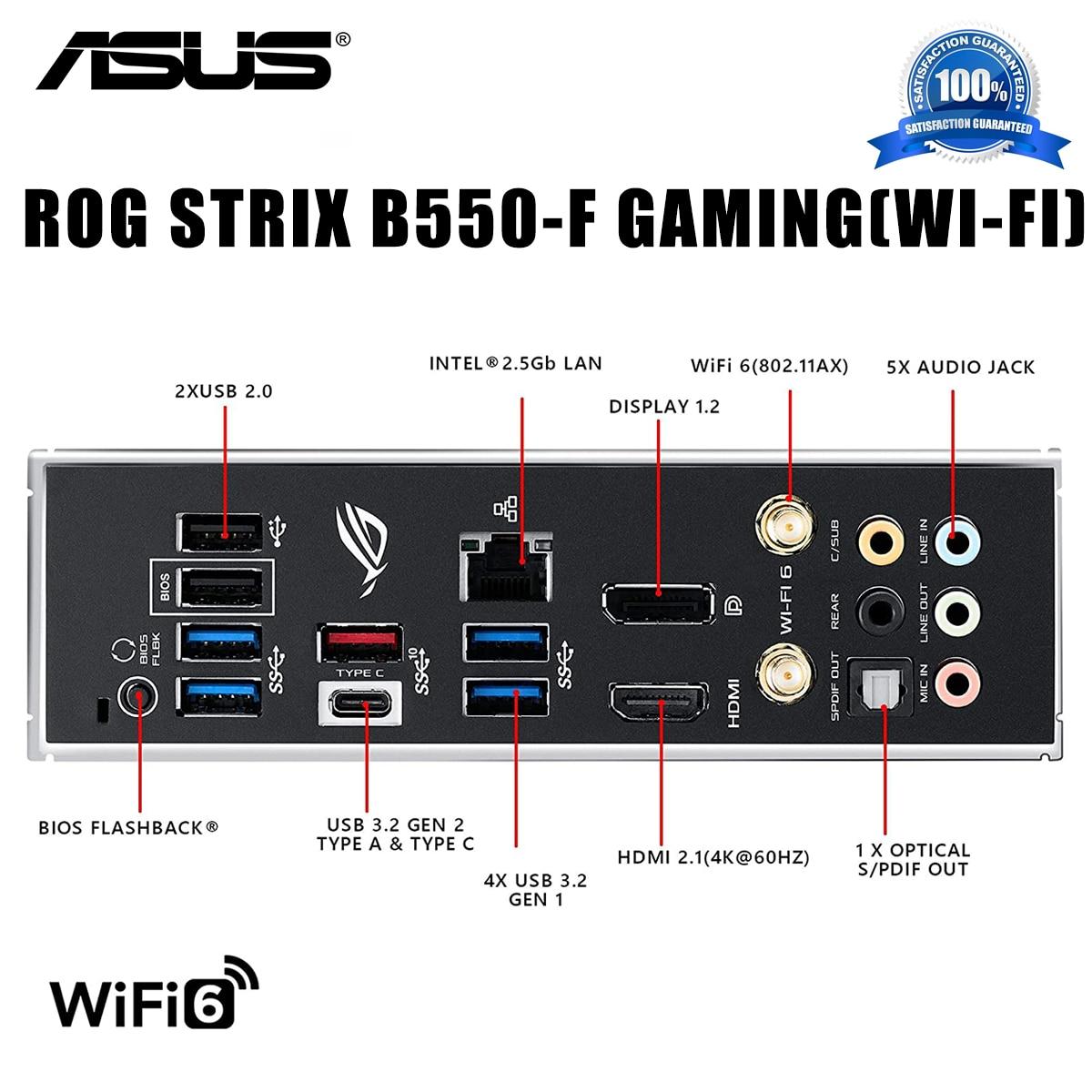Socket AM4 Asus ROG STRIX B550-F GAMING (WI-FI) Motherboard Support 3500X 3600 AM4 CPU DDR4 Overlocking B550 Gaming Placa-mãe
