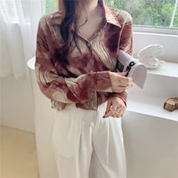 autumn fashion office shirts new turn down collar print women blouses cardigan button casual tops long sleeves single blouse