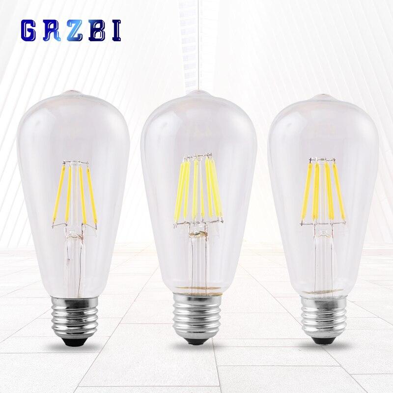 Винтажная Светодиодная лампа Эдисона с нитью накаливания 4 Вт, 6 Вт, 8 Вт, светодиодная лампа 220 В, ST64, держатель для лампы с веревкой E27