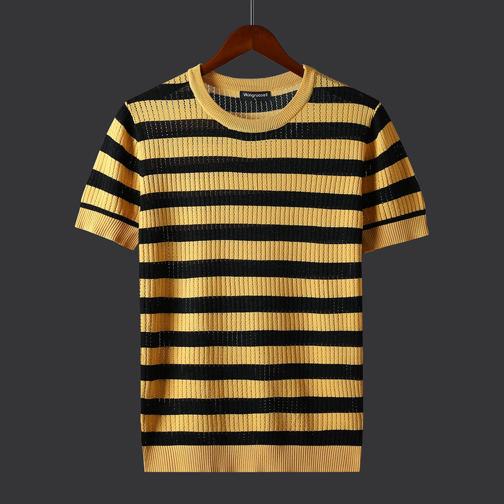 New Short-sleeved T-shirt Striped Ice Silk Bottoming Shirt Men's Summer Half-sleeved Fashion Casual Slim Round Neck Top