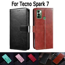 Case For Tecno Spark 7 Cover Etui Flip Wallet Stand Leather Book Funda On Tecno Spark7 Case Magnetic