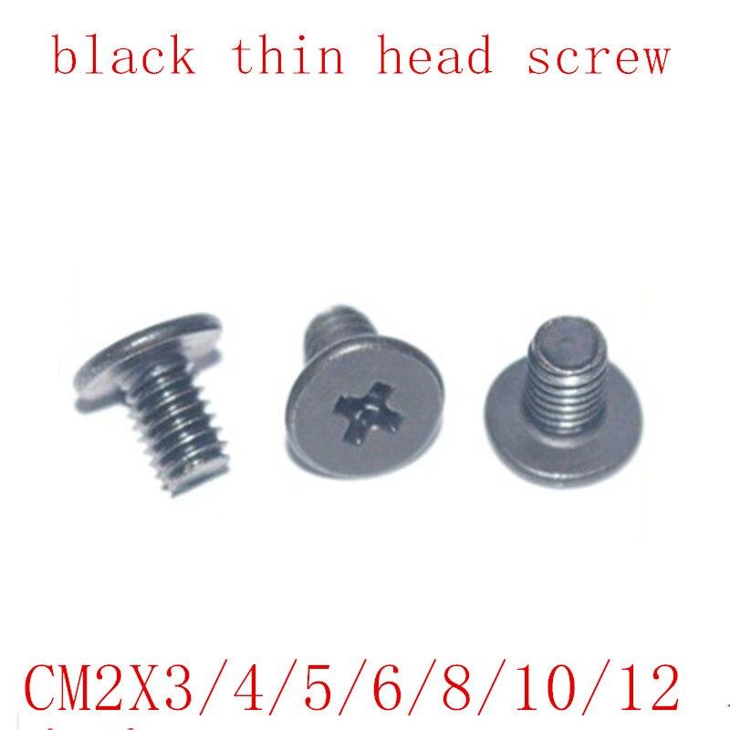 1000 sztuk CM typ M2 * 3/4/5/6/8/10/12 stali nierdzewnej z czarnym CM niskie cienkie krótkie śruba z łbem duży z łbem płaskim krzyż cienka krawędź płaskie śruby
