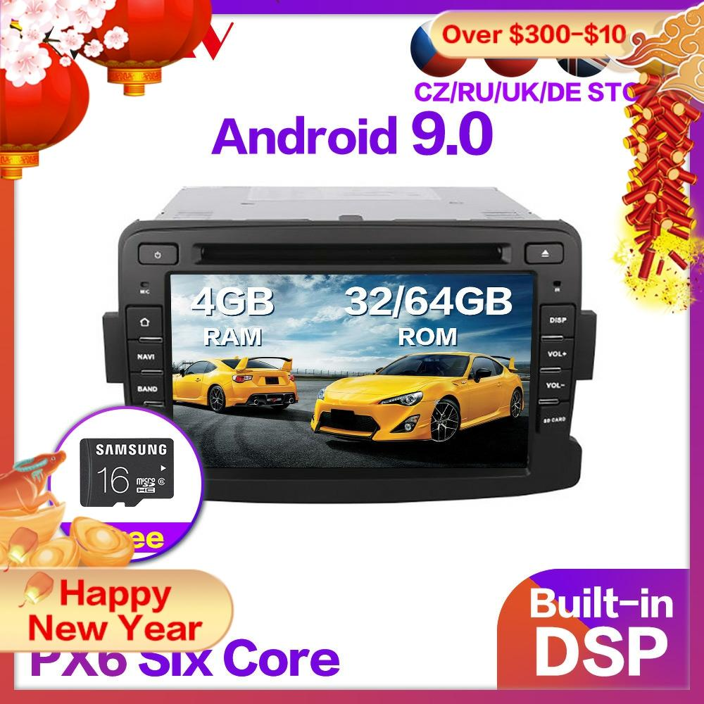 PX6 4G + 64G Android 9,0 Auto Radio DVD-Player Multimedia Stereo Für Renault Duster 2010 + Audio video stereo GPS Navi karte kopf einheit