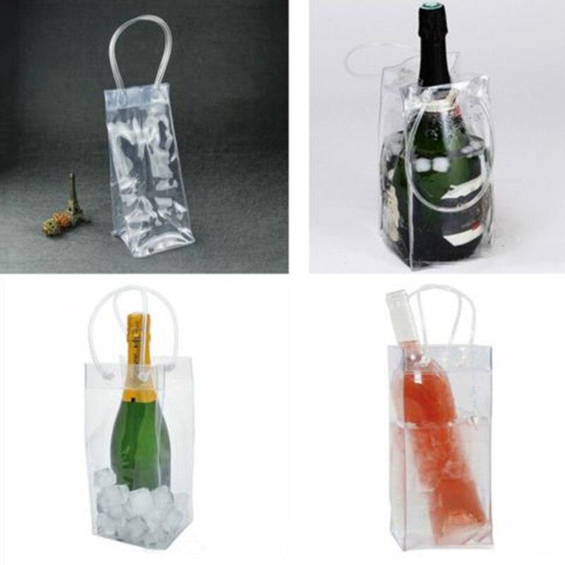 1 bolsa de hielo transparente de PVC para vino, cerveza, champán, cubo, bebidas, Enfriador de botellas, bolsas de transportador plegable 28*20*10cm