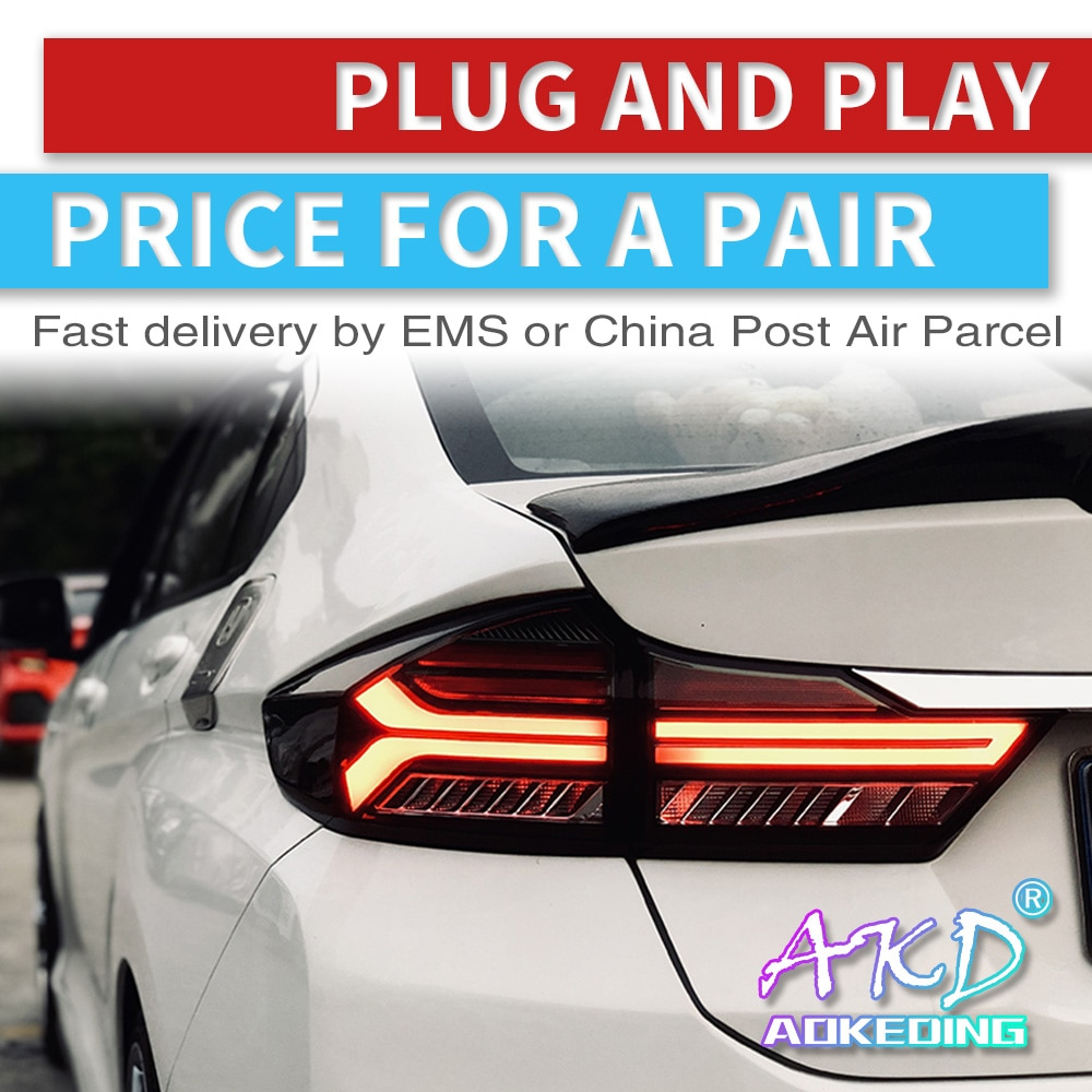 AKD tuning cars Tail lights For Honda CITY 2014-2018 Taillights Audi Type LED DRL Running lights Fog lights Rear parking lights