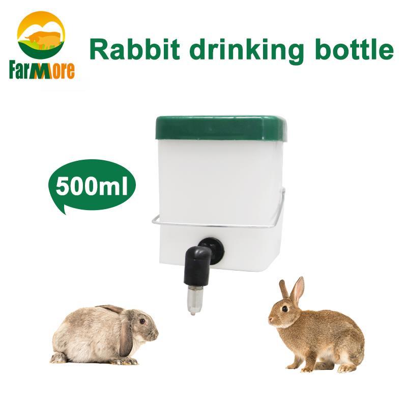 Plastic Rabbit Water Drinker 500ml Hamster Drinking Nipple Bottle Dispenser Pets Hanging Automatic Device
