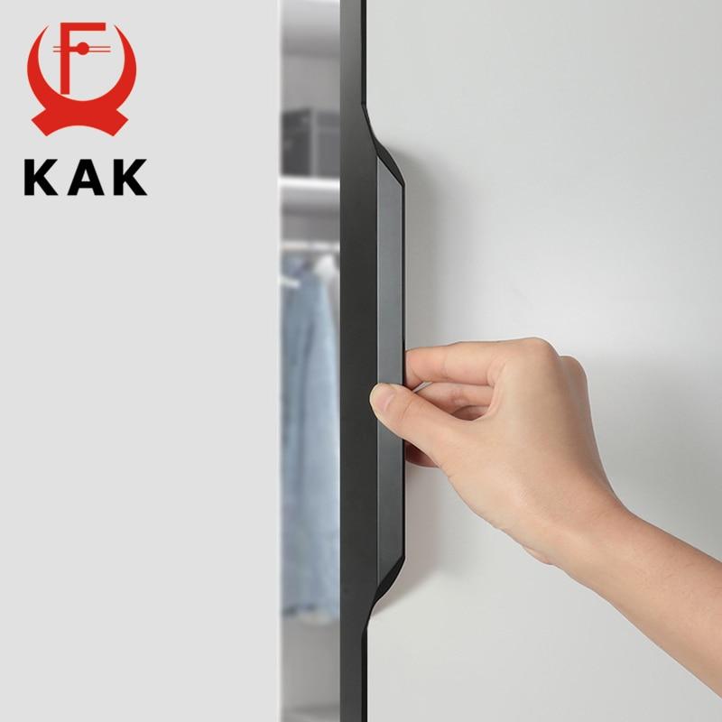 KAK Black Hidden Cabinet Handle Aluminium Alloy Kitchen Drawer Knobs No Screw Needed Furniture Door Hardware