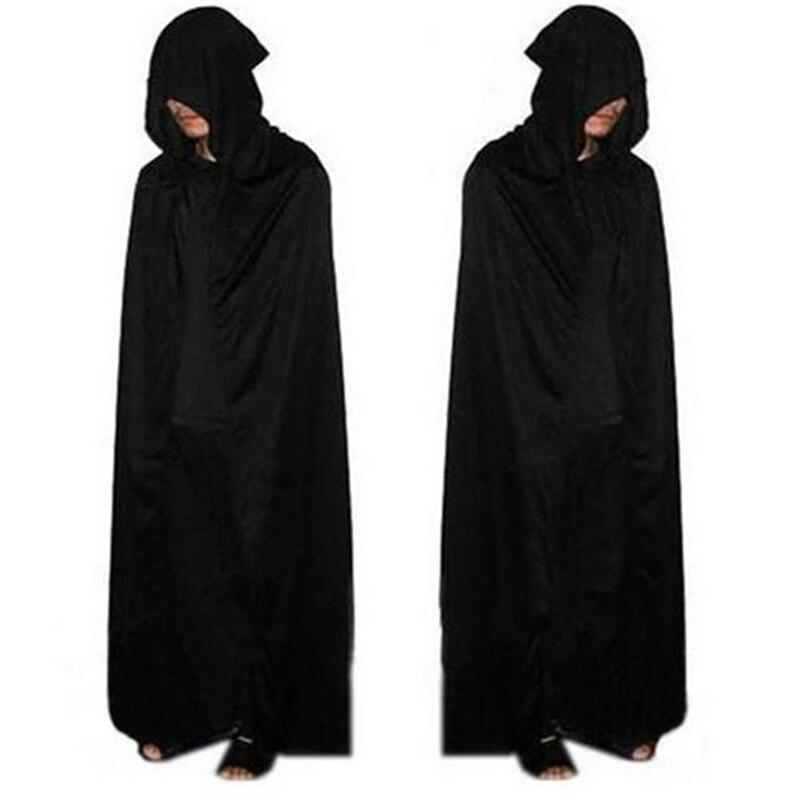 Disfraz de Halloween para adulto, disfraz de Death, capa negra con capucha, capa negra de bruja demonio aterrador, capa negra larga para Cosplay de rol, novedad