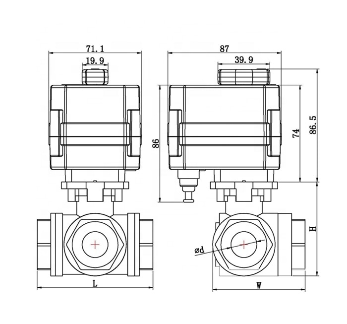 Electric Stainless Steel Ball gas solenoid Motorized Valve with Manual NPT BSP Water Valve enlarge