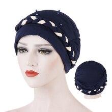 Gorra de turbante de dos colores jersey interior hijabs bonnet cabeza de envoltura India hijab tapas de ropa interior para mujer musulman tocado musulmán