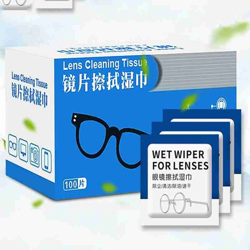 100Pcs Glasses Cleaner Wet Wipes Cleaning Lens Disposable Anti Fog Misting Dust Remover Sunglasses P
