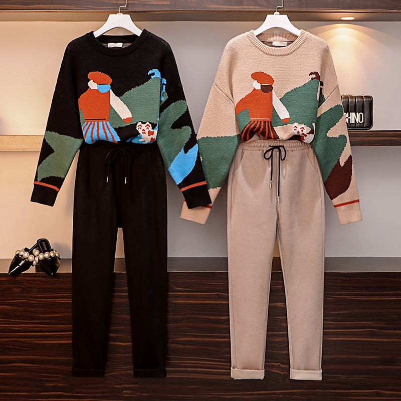 Large Size Womens Suit Autumn Winter Fashion Matching Sweater + Skirt Wool Pants Two Sets Pullover Cotton Office Lady