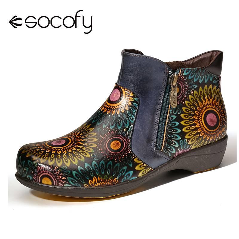 SOCOFY Retro Boots Big Head Sun Flower Genuine Leather Double Zipper Flat Boots Elegant Shoes Women Shoes Botas Mujer 2020
