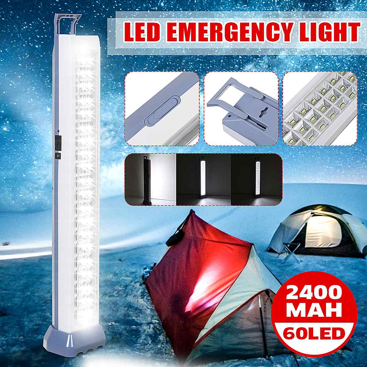 60 luces LED de emergencia para acampada, luz de emergencia recargable para exteriores con 2 modos de luz para trabajo, lámpara para senderismo, estacionamiento en casa