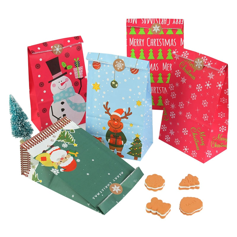 aliexpress.com - 23 x 13cm Kraft Craft Christmas Gift Bags Xms Gift Candy Packing Bag Snowflake Santa Claus Paper Bags For New Year Gift Wrapping