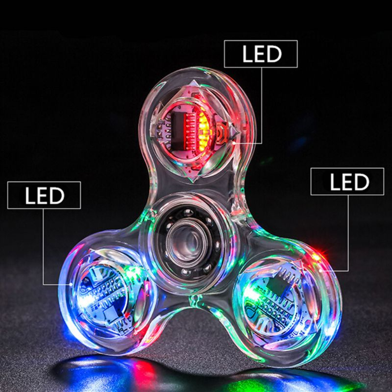 Novelty Multiple Changes LED Fidget Spinner Luminous Hand Top Spinners Glow in Dark EDC Stress Relief Toys enlarge