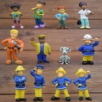 12 personal dolls cartoon anime fireman lifeguard kit toys learning tools children birthday cake decoration dolls gifts for kids
