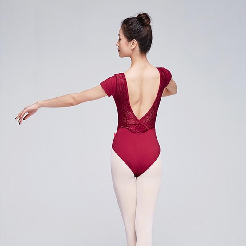 Leotardos de Ballet de algodón para mujer, ropa de baile de manga corta con encaje para niña, Ropa de baile para adultos, leotardo de gimnasia negro para mujer