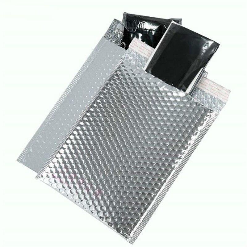 بريد فقاعي فضي 18 × 23 سنتيمتر ، 50 قطعة ، حقيبة مبطنة ذاتية الختم ، حقيبة بريد ، تغليف هدايا ، تخزين