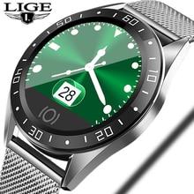 LIGE 2019 New Smart Watch Men LED Color Screen Heart Rate Blood Pressure Monitor Multi-Function Sport IP68 Waterproof Smartwatch