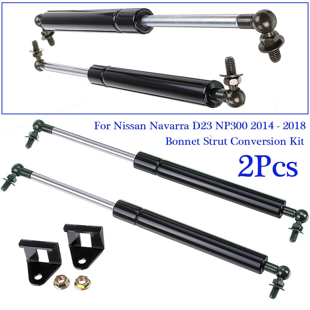 Black 1 Pair Set Tailgate Gas Struts Accessories Shock Exterior Mounting For Nissan Navarra D23 NP300 14-18