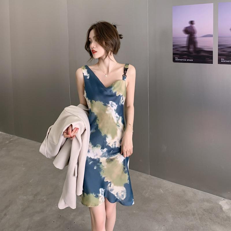 CMAZ new summer women's clothing French Style printed satin dress sleeveless female restoring vintage Dresses 5812#