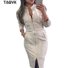 TAOVK ชุดสตรีแขนยาวซิป Vintage Stand Collar สำนักงานผู้หญิงชุด